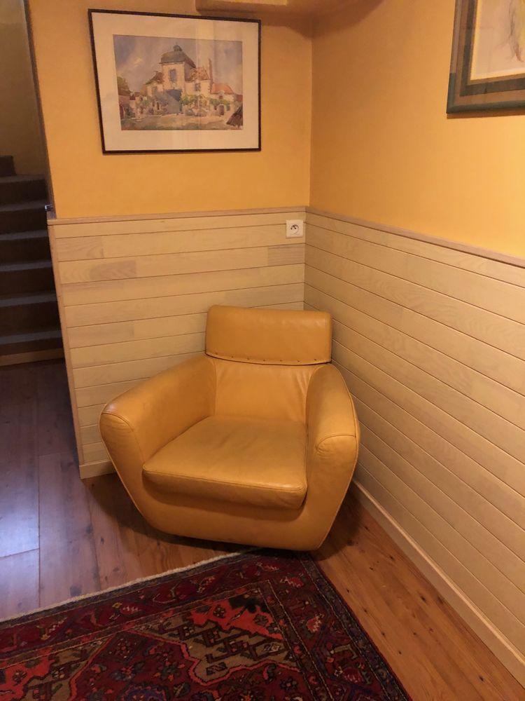 Canapé 2 places & 1 fauteuil ligne ROSET en cuir jaune 500 Vanves (92)