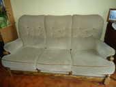 canapé 3 places et 2 fauteuils bois et tissu 300 Tarare (69)