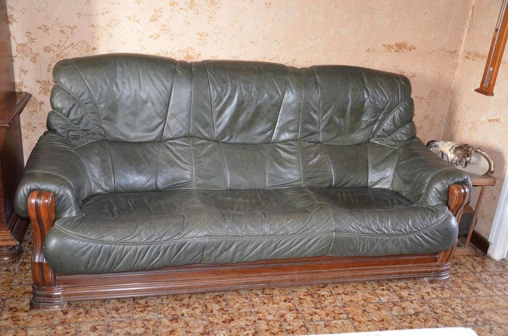 Canapé 3 places et 2 fauteuils cuir  200 Sagy (71)