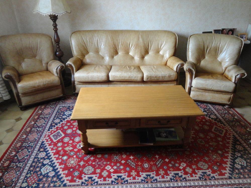 canapé 3 places et 2 fauteuils cuir  190 Marzy (58)