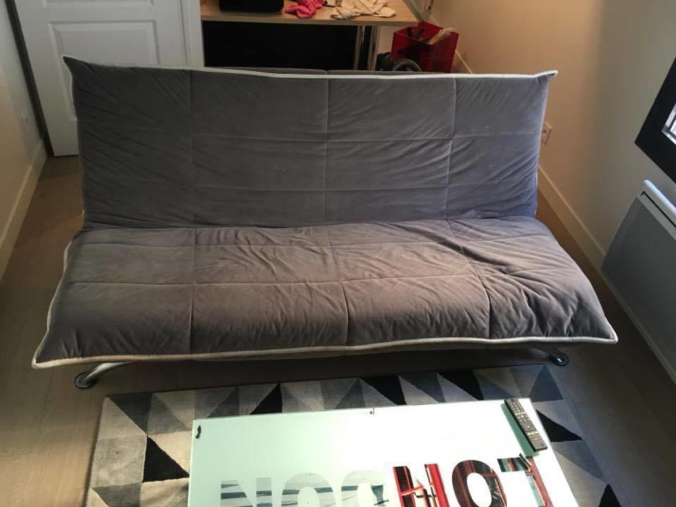 Canapé-lit, 3 places, simili daim gris 200 Courbevoie (92)