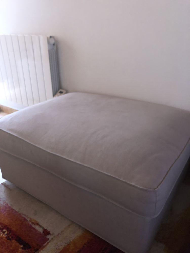 Canapé 2-3 places tissus gris et son pouf-coffre 250 Oullins (69)