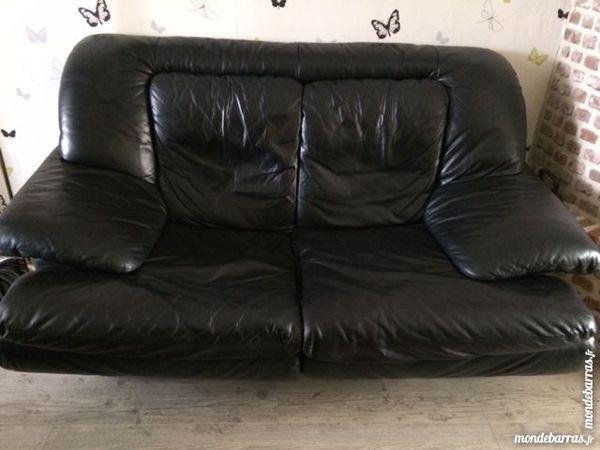 canapé 2 places - veritable cuir - noir 175 Pont-sur-Sambre (59)