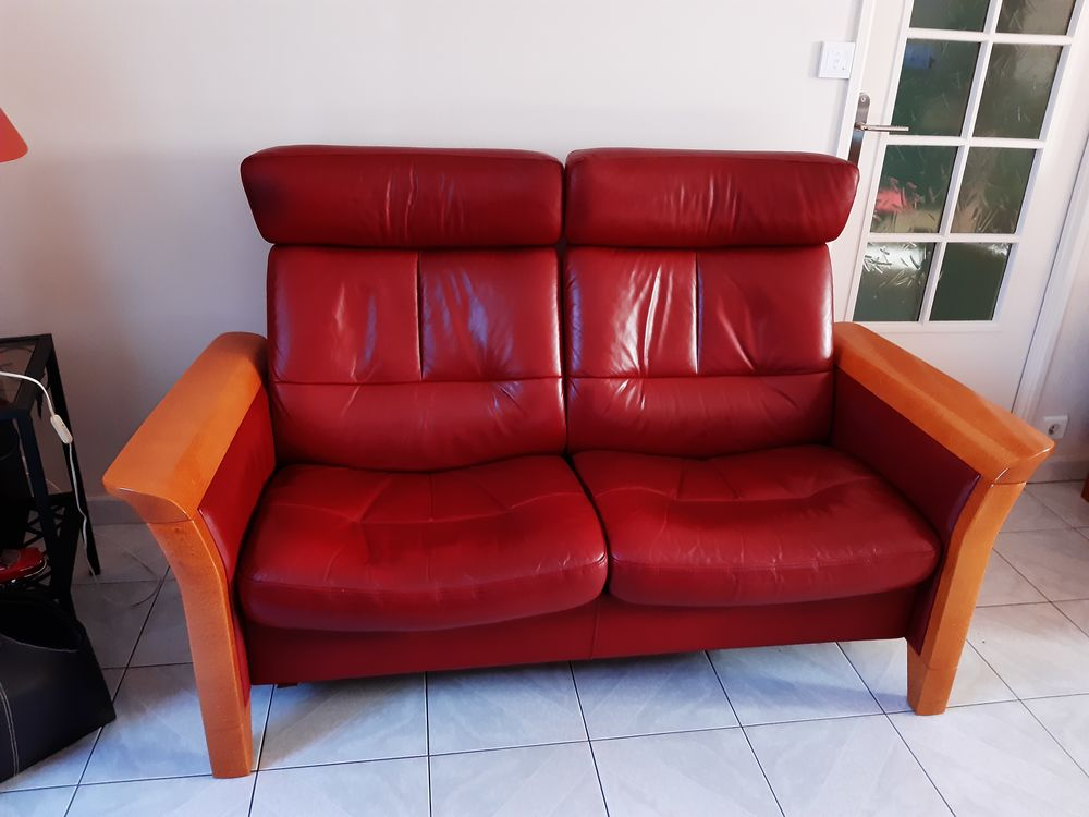canapé plus fauteuil stresless rouge foncé 640 Cesson (77)