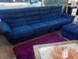 canapé + repose pieds 4 places dont 2 relax électrique microfibre bleu Meubles