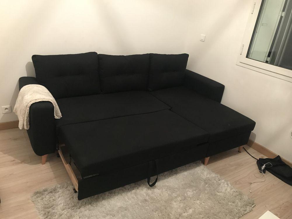 Canapé scandinave d'angle réversible convertible - Noir Meubles