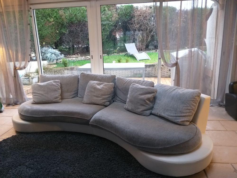 Canapé tissus gris et cuir blanc 0 Noisy-le-Grand (93)