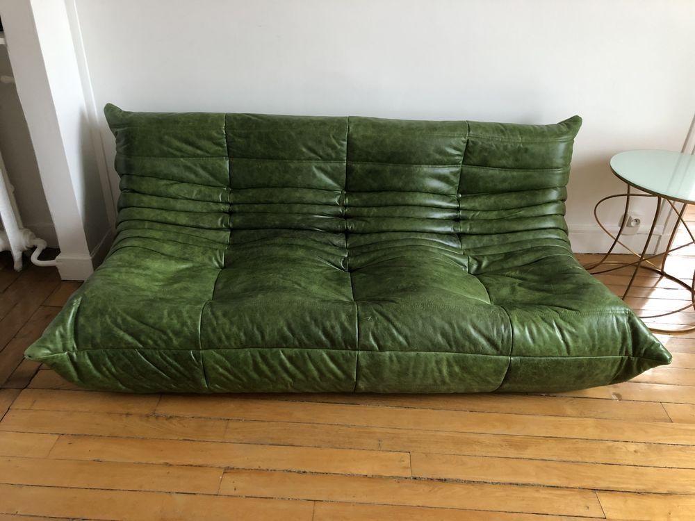 Canapé Togo en cuir vert 2000 Paris 7 (75)