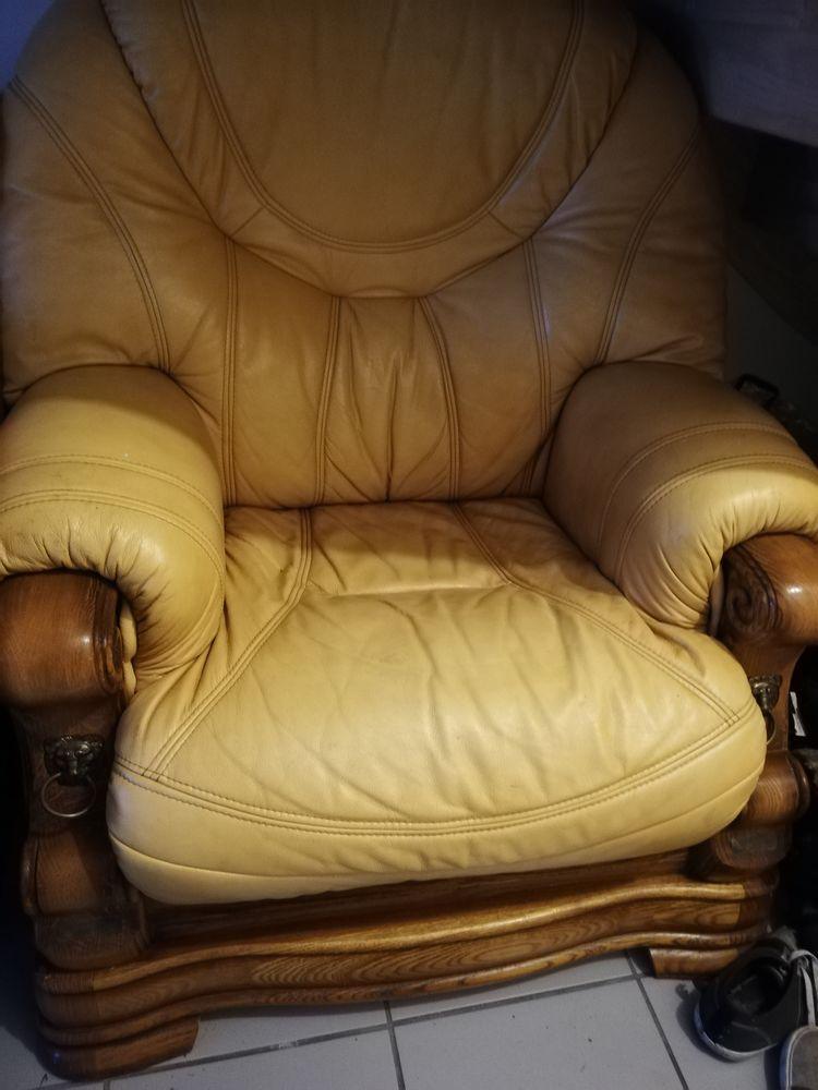 Canaper cuir véritable et fauteuil 0 Souillé (72)