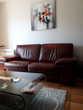 Canapés cuir bordeaux 2 places - 3 places. Fab. France Meubles