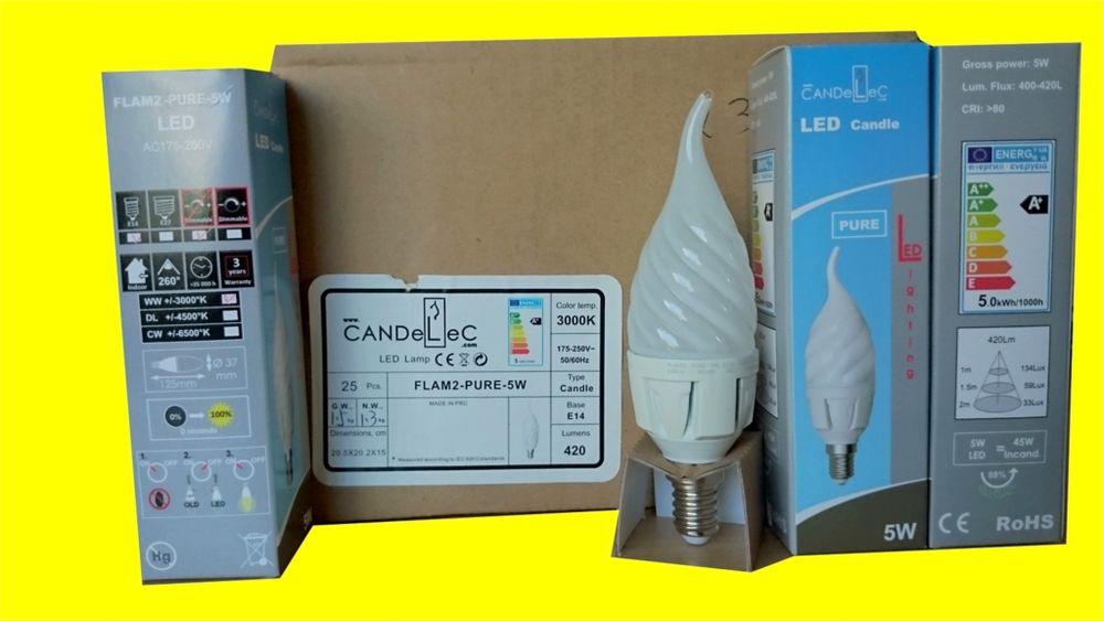 CANDELEC Lot de 25 LED Ampoules FLAM2 PURE Culot E14 5W 420 Décoration