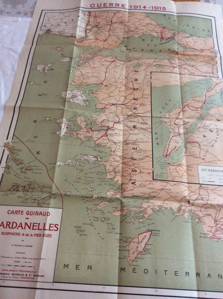 Carte ancienne Les Dardanelles Guerre 1914 1915 pliable 25 Gif-sur-Yvette (91)