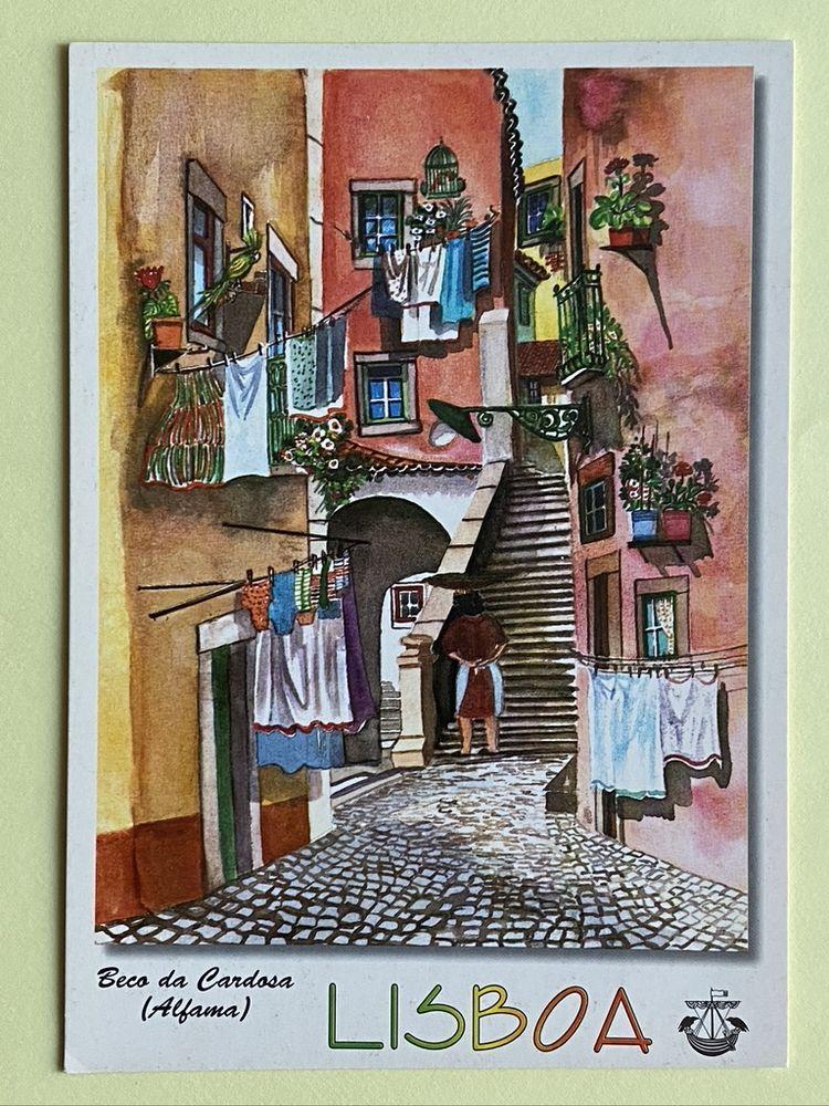 Carte Postale Beco da Cardosa_Alfama_ Aquarelle de LISBOA _  3 Joué-lès-Tours (37)
