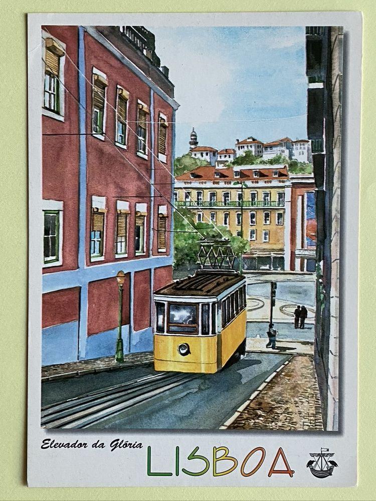 Carte Postale Elevador da Gloria_ Aquarelle de LISBOA _ PORT 3 Joué-lès-Tours (37)