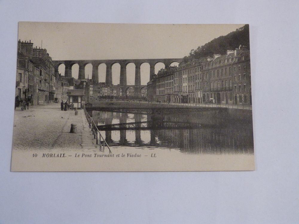 CARTE POSTALE  MORLAIX  -  le pont tournant et le viaduc 3 Brest (29)
