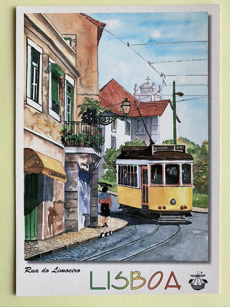 Carte Postale Tramway Rua do Limoeiro_Aquarelle de LISBOA  3 Joué-lès-Tours (37)