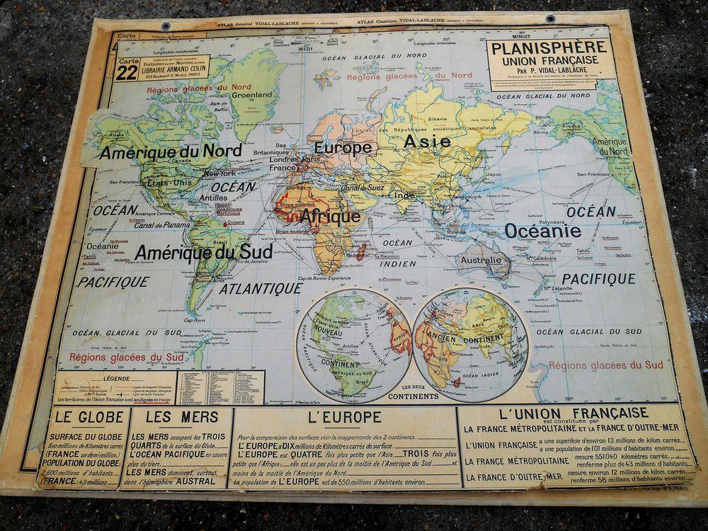 Carte scolaire Planisphère  50 Paris 19 (75)