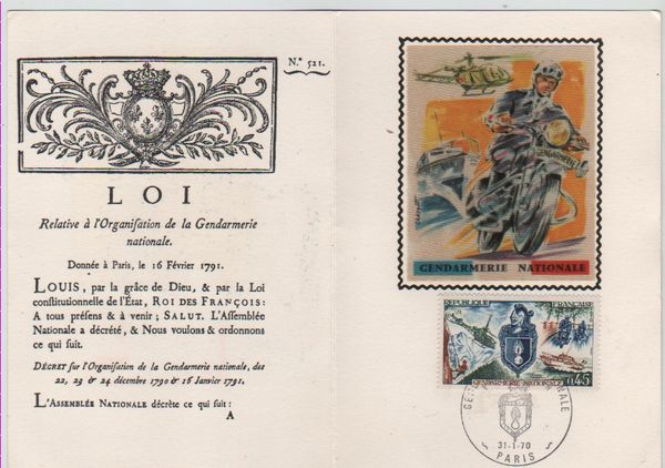 Carte Timbre 1er Jour Gendarmerie Nationale 1970. 10 Mèze (34)