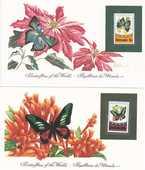 3 cartes de 1984  LES ¨PAPILLONS DU MONDE  12 Les Églisottes-et-Chalaures (33)
