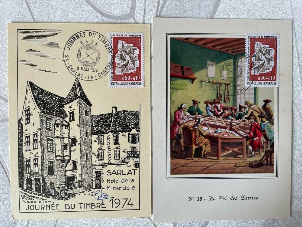2 CARTES JOURNÉE DU TIMBRE 1974 5 Blaye (33)