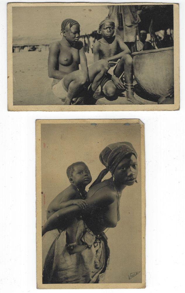 2 cartes postales anciennes  Afrique occidentale française  18 La Madeleine (59)