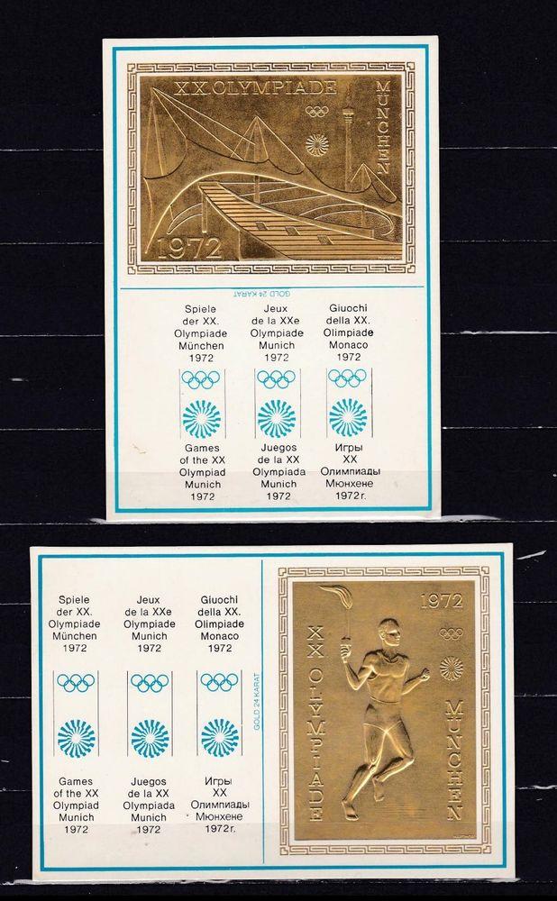 4 cartes postales gaufrées sur les JO de MUNICH 40 Les Églisottes-et-Chalaures (33)