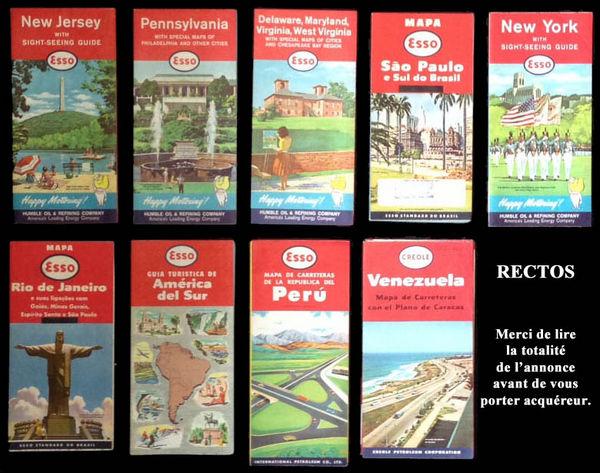 9 Cartes routières ESSO de différents pays 1956-1962 27 Clamart (92)