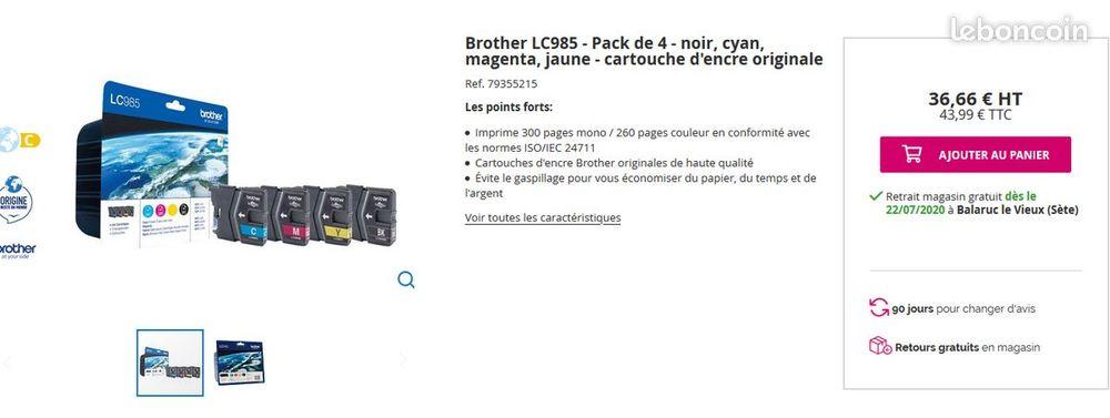 cartouches imprimantes Brother LC985 15 Frontignan (34)