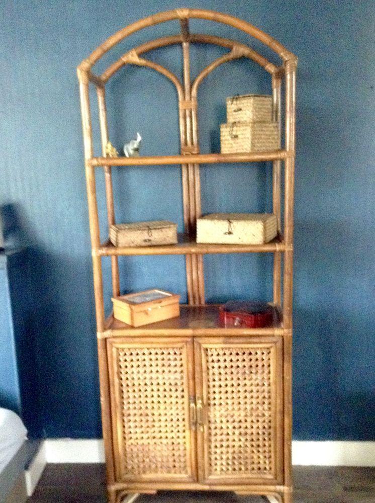 cause déménagement Meuble étagères vintage bambou/rotin 150 Saint-Vincent-sur-Jard (85)