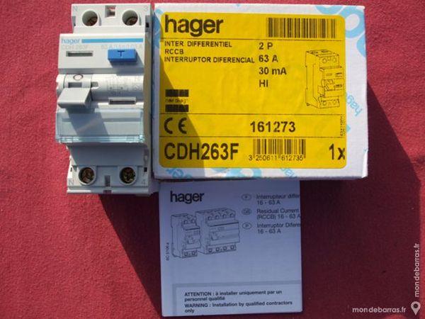 Réf CDH263F INTERRUPTEUR HAGER 2P 63A 30mA HI 230V 180 Tergnier (02)