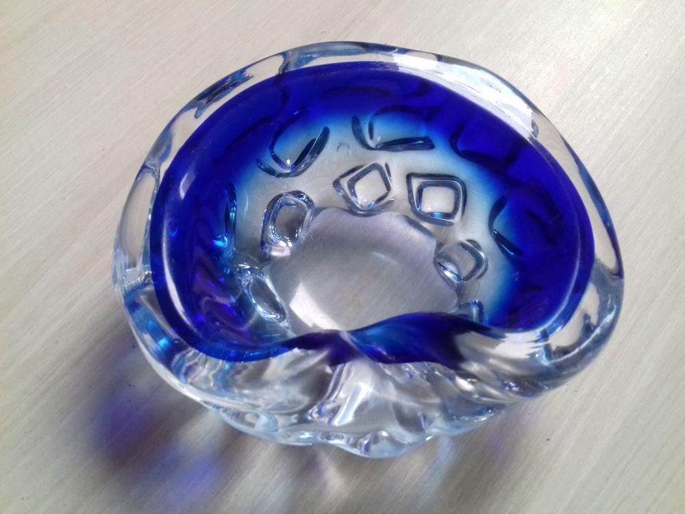 Cendrier Vintage 1960 authentique en verre transparent/bleu 40 Paris 15 (75)