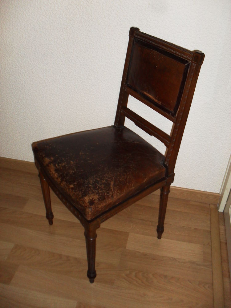 Achetez chaise ancienne cuir occasion annonce vente cessy 01 wb155410616 - Chaise en cuir a vendre ...