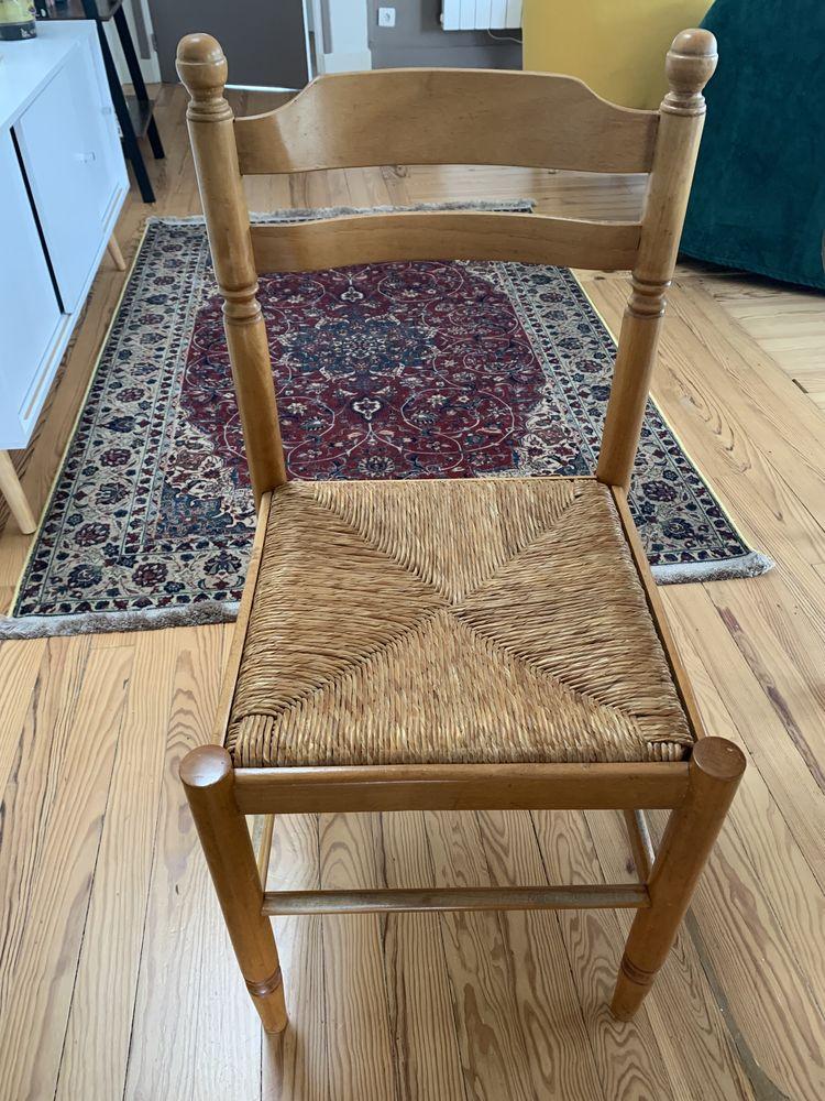 Chaise en bois avec assis en en Rotin  80 Quiberon (56)