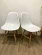 Chaise à coque blanche scandinave (lot de 2)