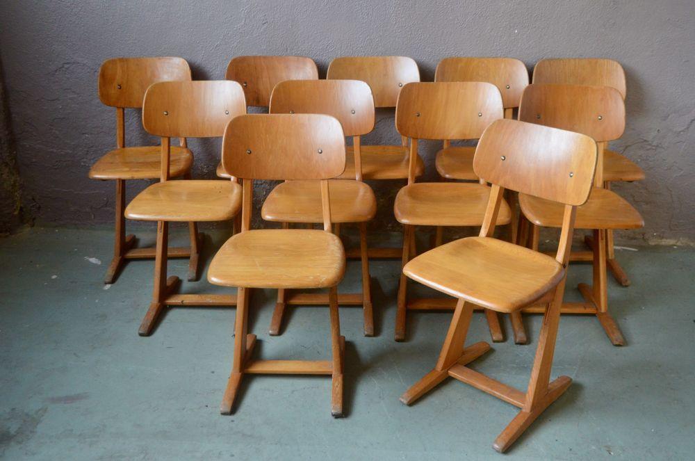 Chaise vintage scandinave. Lot ou série bureau bistrot bois 80 Wintzenheim (68)