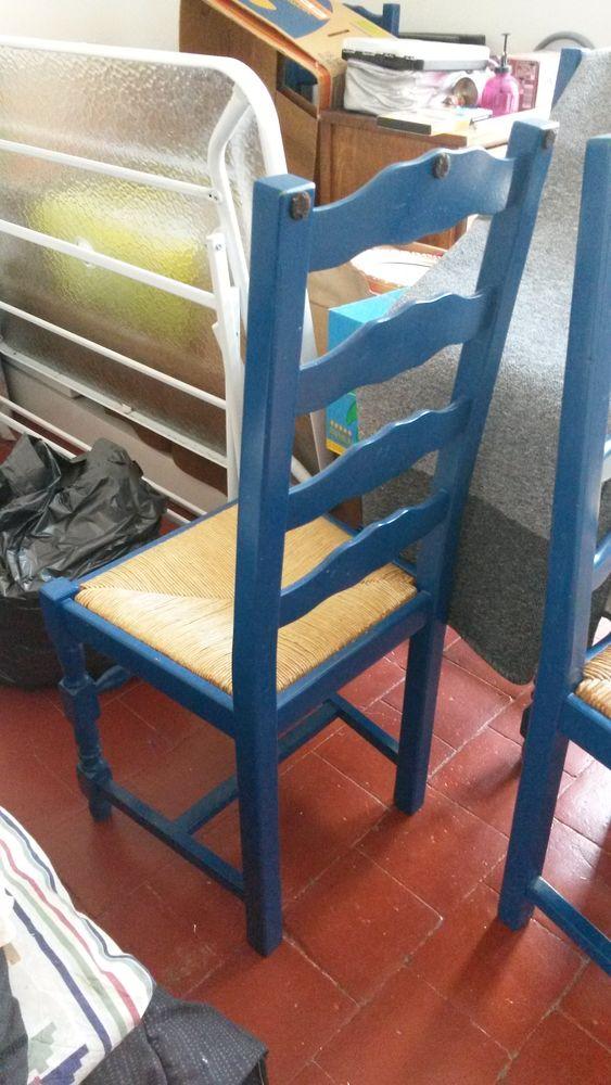 6 chaises bois et pailles Meubles
