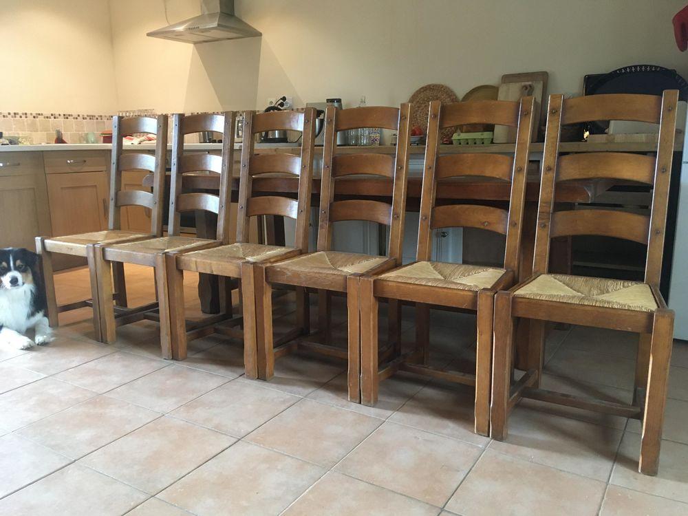 6 chaises en chêne massif, assise en paille 150 La Chapelle-de-Brain (35)