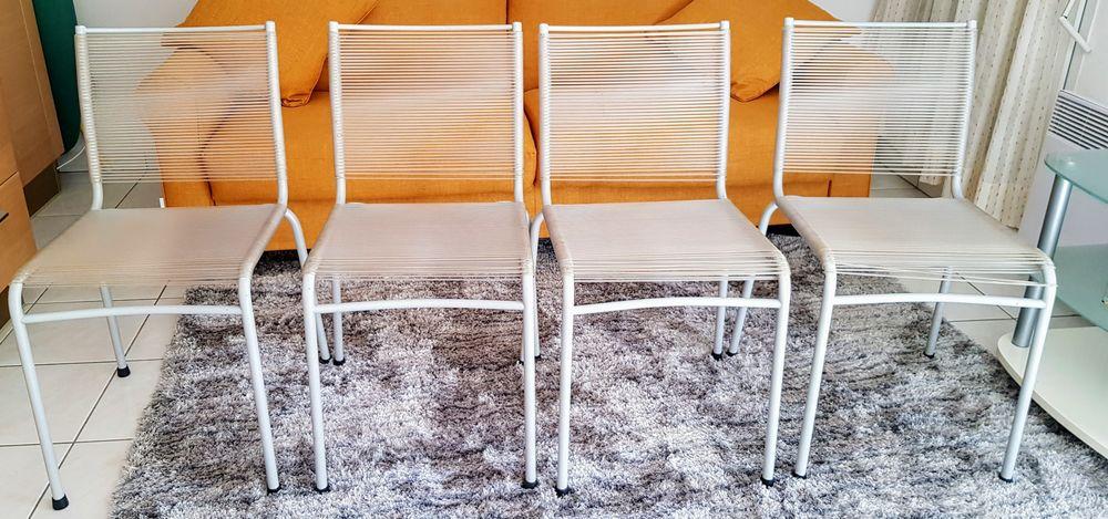 Lot de 4 chaises Art deco scoobidou blanc grisées 200 Menton (06)