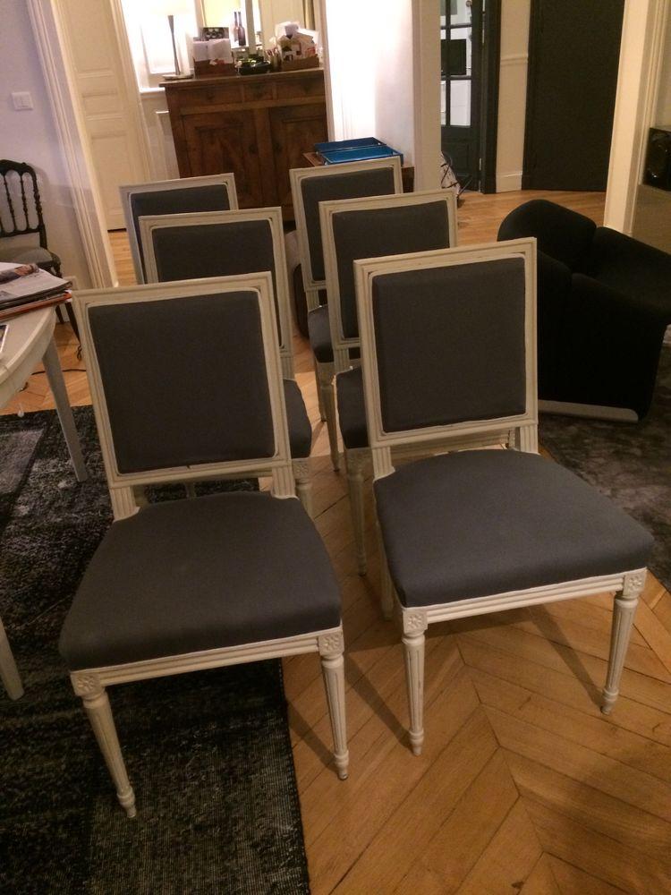 chaises 6 Directoire refaites en tissu gris  400 Boulogne-Billancourt (92)