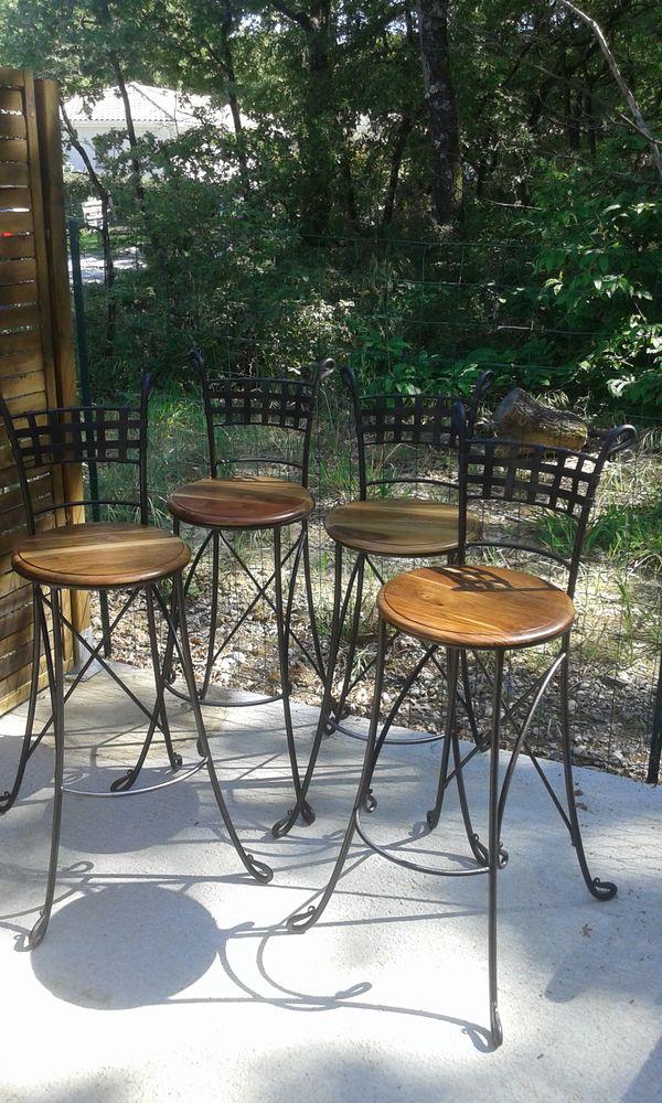 lot de 4 chaises hautes en fer forgé 500 Eaunes (31)