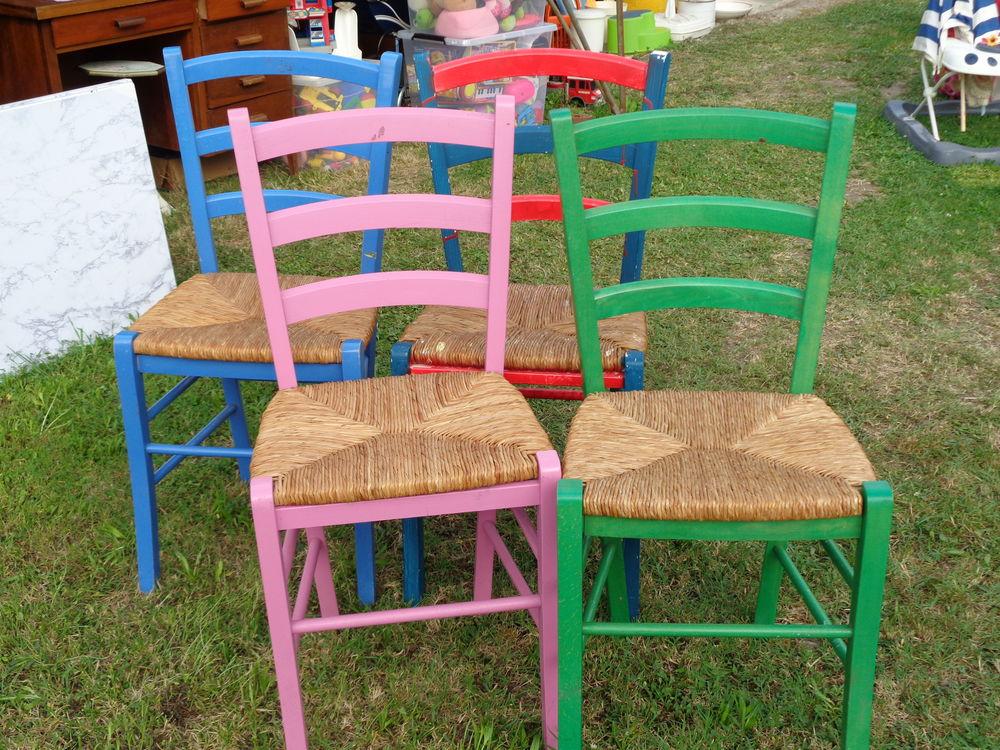 chaises paillées peintes 40 Saint-Sève (33)