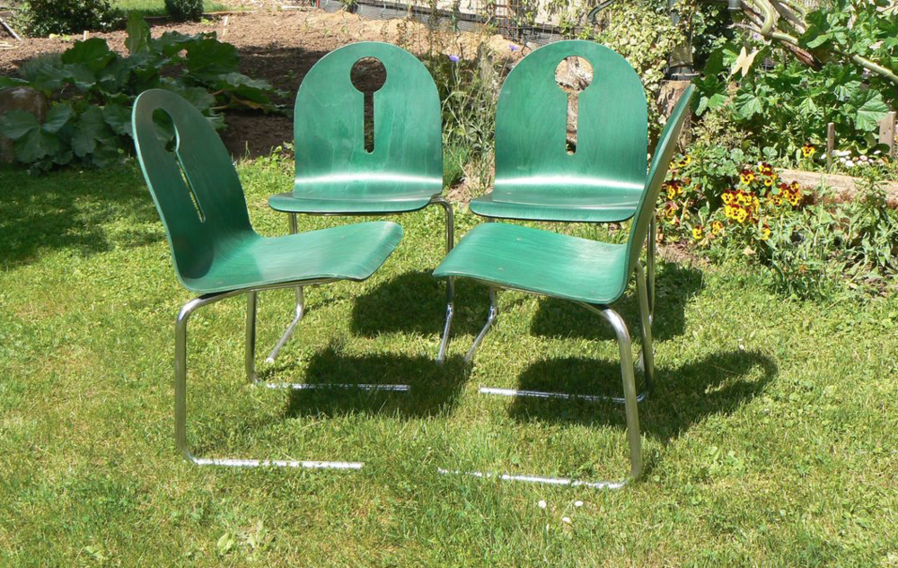 4 chaises/sièges monocoques bois + métal  100 Ingwiller (67)