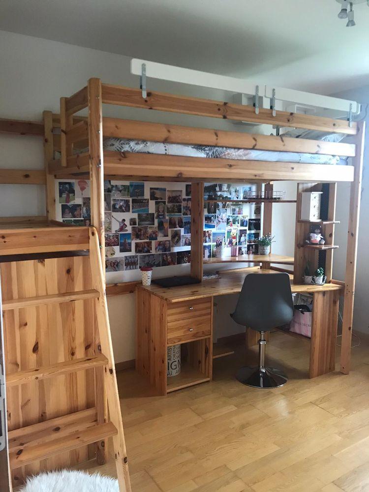 Chambre complète avec lit mezzanine 1 place en pin massif  450 Yssingeaux (43)