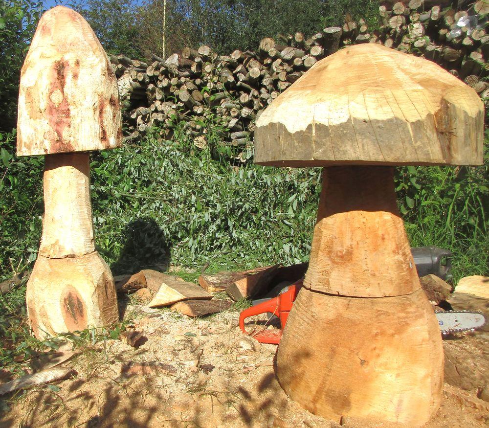 40€ champignon en bois massif