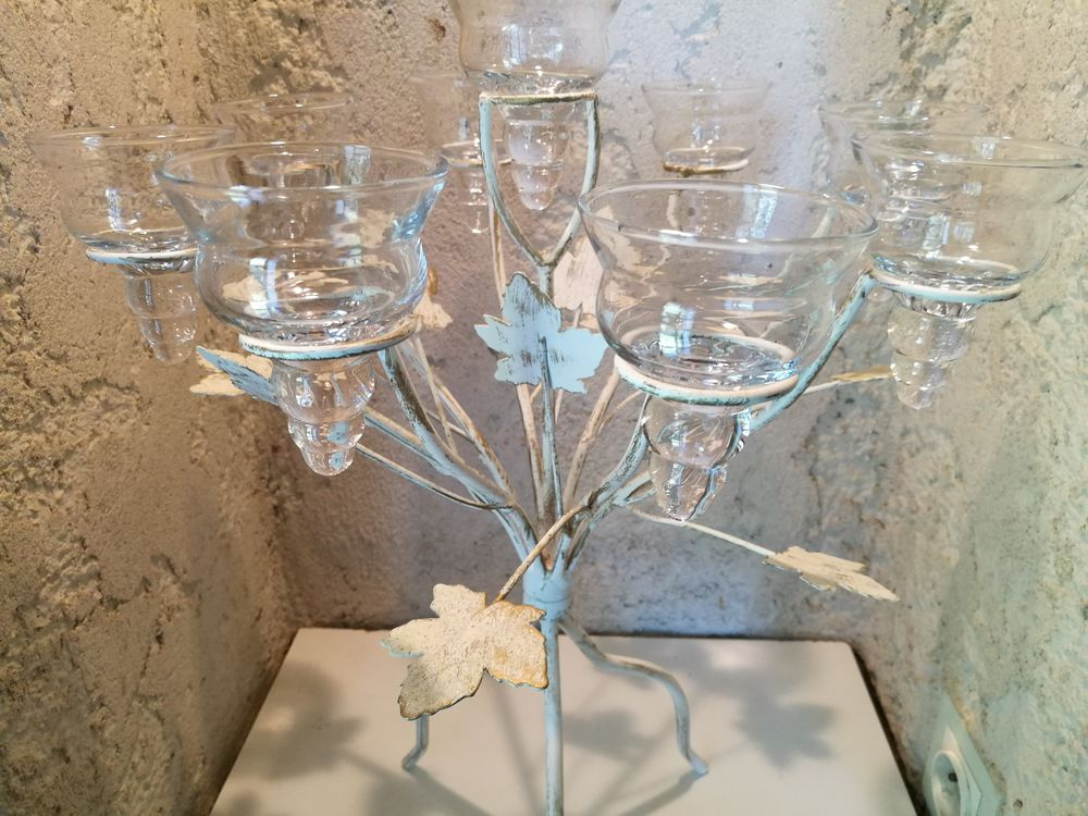 Chandelier Bougeoir Métal Tripode et coupelles verre Décoration