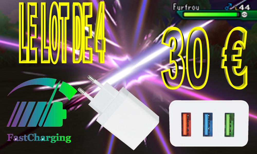 Lot de 4 Chargeurs rapide 3.0 USB trible charge, conception  30 Grasse (06)