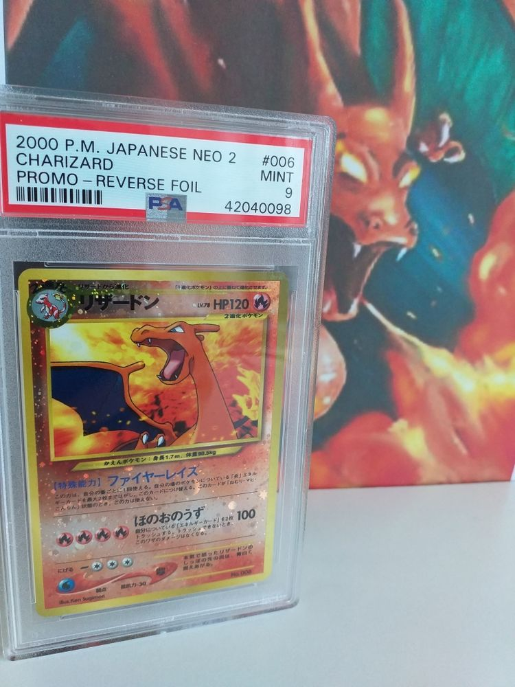 Charizard 006 HOLO RARE PROMO 2000 JAP NEO Pokemon Card RARE PSA GRADED 9 MINT!! 250 Killem (59)