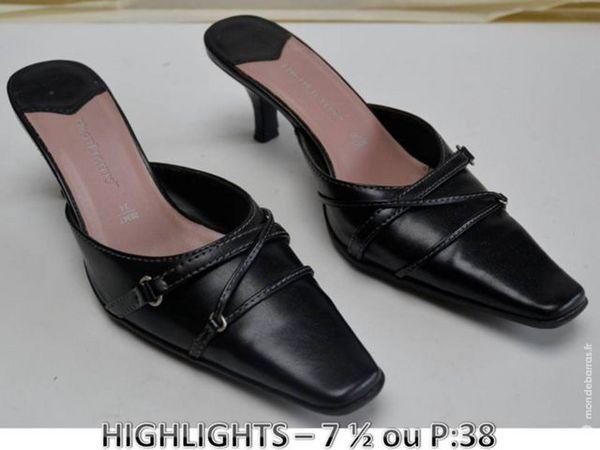 Chaussure FEMME en cuir noir ' HIGHLIGHTS ' P 38 30 Mons-en-Barœul (59)