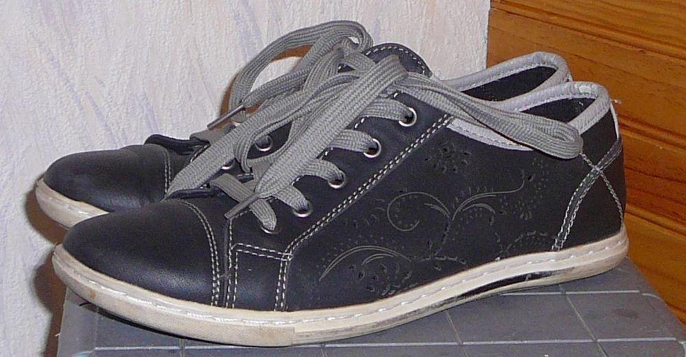 Chaussures femme, Casual, 39-40, bleu-noir fleuri 2 Lens (62)