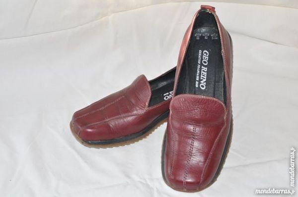 chaussures pour femme t38, cuir bordeaux 5 Ranton (86)